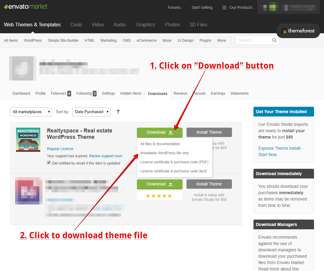 wordpress download file on button click